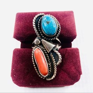 Vtg SS 925 Angela Lee Navajo Turquoise Coral Ring
